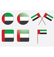 badges with the United Arab Emirates flag vector image vector image