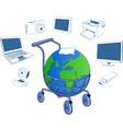 Shopping cart containing a globe vector image vector image