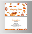business card template with bakery set vector image