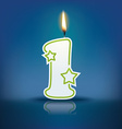 Candle letter l with flame vector image