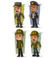 cartoon army general character set vector image