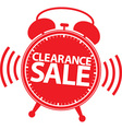 Clearance sale alarm clock red label vector image