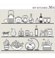 Kitchen utensils on shelves 4 vector image