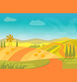 rural beautiful village landscape with mountains vector image