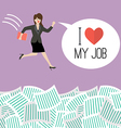 Business woman jump into a lot of documents with vector image