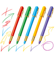 Set of colored pens vector image vector image