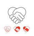 shaking hands icons collection isolated on white vector image vector image