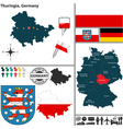 Map of Thuringia vector image vector image
