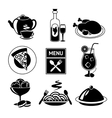 Restaurant food icons black and white vector image