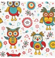 Cute colorful pattern with owls and flowers vector image vector image