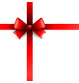 Red holiday ribbon with bow vector image