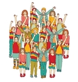 Big group of smiling happy children isolate on vector image vector image