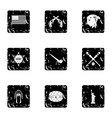 Attractions of USA icons set grunge style vector image