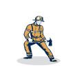 Fireman Firefighter Standing Holding Fire Axe vector image