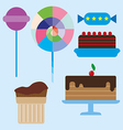Sweets card with chocolate cream cakes vector image