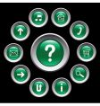 glossy green buttons with symbols vector image vector image