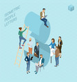 isometric numbers with people vector image