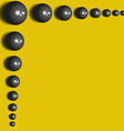 Abstract background 3D black spheres on the yellow vector image