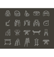 White line style furniture icons set vector image