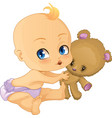 Baby Boy playing with Teddy Bear vector image