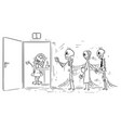 cartoon of three skeletons of people dying vector image