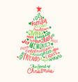 christmas tree handwritten greeting card vector image