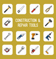 home diy tools colored line icons vector image