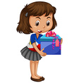 Little girl carrying box of present vector image