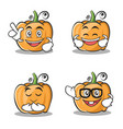 set of pumpkin character cartoon style vector image