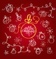 set of vintage flourish doodle christmas balls vector image