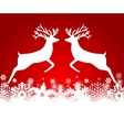 Two reindeer jump to each other on a red vector image