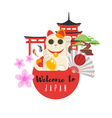 Japanese traditional objects vector image
