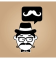 cartoon hipster mustache retro background vector image