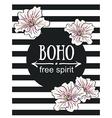 Greeting card flowers - Boho free spirit hand vector image