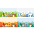 Houses in Four Seasons with Mountain Background vector image