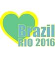 Abstract love heart ribbon flag Brazil Rio 2015 vector image