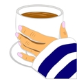 Hand holding cup of coffee vector image