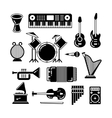 Classic music instruments silhouettes vector image