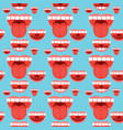Open mouth tongue teeth seamless pattern vector image