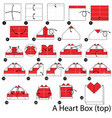 step instructions how to make origami a heart box vector image