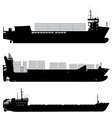Cargo and container ship silhouettes vector image