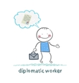 diplomatic worker thinks about the document vector image vector image
