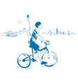 Musician with guitar rides a bicycle vector image