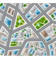 Plan top view for the big city with streets roofs vector image