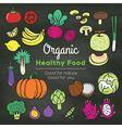 Organic food doodle on chalkboard background vector image