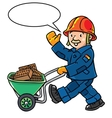 Funny construction worker with cart vector image