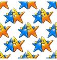 Cartoon hugging stars characters seamless pattern vector image