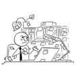 cartoon of office worker with stick notes vector image