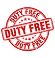 duty free red grunge round vintage rubber stamp vector image