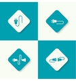 Set icons with wire plug and socket vector image